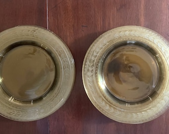 Yellow Depression Glass Luncheon Plates, Etched Laurel Leaf Design, Set of 11 Glass Plates Yellow Thanksgiving Table setting,  8.5 inch