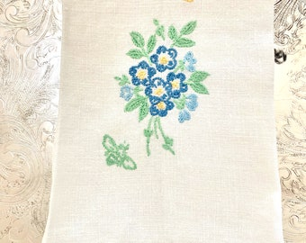 Linen Tea Towel, Hand Embroidered Guest Hand Towel, Blue White Green Finger Tip Towel, Cottage Farmhouse Linens