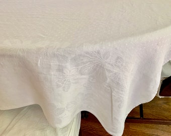 White Damask Tablecloth, Polka Dot Design with Floral Border, White on White Pattern, 68 x 70 Inches, Linen Tablecloth, Cottage Farmhouse