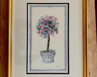 Topiary Print Framed, Blue White Pink Colors, Gold Toned Wooden Frame, Signed Chucha
