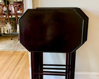 Wooden Folding Table, Dark Wood Octagonal TV Tray Table, Folding Occasional Dining Table, 4 Available Each Sold Separately