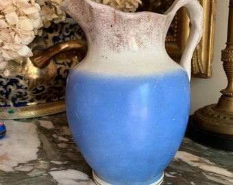 Antique Blue White Pitcher, Victorian Water Pitcher, Blue White Decor, Shabby Cottage 32 Ounce Pitcher Vase,  Farmhouse Milk Pitcher