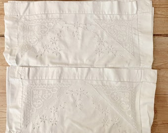 Ivory Cutwork Pillowcases, Pair King Size Vintage Pillowcases with Needlework, Cottage Farmhouse Bedding, King Size Bedding