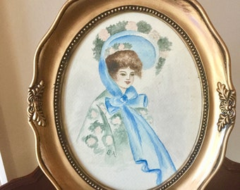 Vintage Watercolor Portrait Victorian Fashion Lady in Blue, Signed B A, Oval Gold Toned Frame, Collectible Lady Print, Shabby Cottage Decor