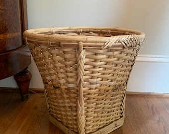 Woven Bamboo Planter, Wooden Indoor Basket Planter, Bamboo Waste Basket, 14 inch Storage Basket, Boho Eclectic Decor