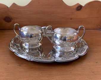 Silver Cream Sugar with Tray, Academy Silver on Copper Open Sugar Bowl and Creamer Set, Leonard Silver Plate Small Tray, Sold as Set