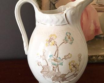 Large White Victorian Pitcher, Semi Porcelain Victorian Ewer, Floral Design, Flower Container Large Vase Centerpiece Cottage Farmhouse Decor