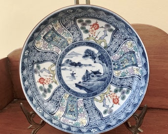 Chinoiserie Footed Bowl, Blue White Asian Shallow Bowl, Japanese Porcelain Bowl, Willow Pattern, Blue White Decor, Chinoiserie Decor