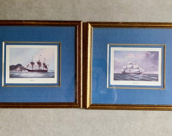 Vintage Clipper Ship Print Framed, Sweepstakes and Resolute, Boating Yachting Print, Regatta Boating Print, 2 Available Each Sold Separately