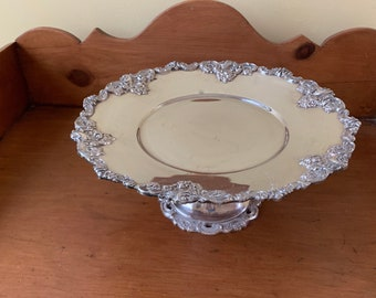 Silver Cake Plate, Footed Silver Plate Pastry Plate, Decorative Silver Serving Cake Stand,
