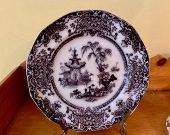 Antique Mulberry Transferware Plate, Podmore and Walker Flow Purple Plum Transferware Plate Corean,  English Transferware Asiatic Pattern