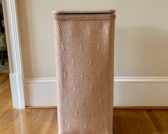 Vintage Pink Hamper, Dusty Pink Wicker Clothes Hamper with Hinged Lid, Mid Century Bath Decor Small Apartment Size 11.5 x 25 inches