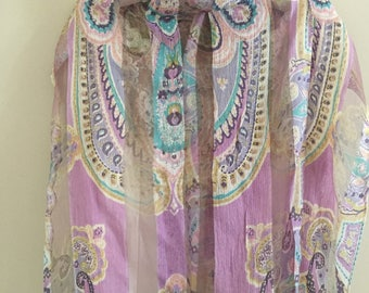 Pastel Sheer Shawl, Spring Summer Bohemian Wrap Long Fringe, Pink, Lavender, Turquoise Colors,  64 x 19 inches, Mother's Day Gift