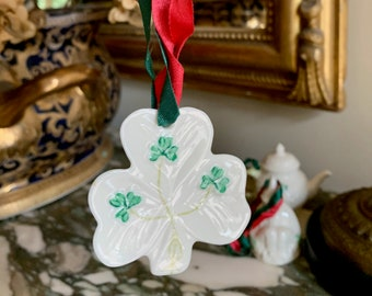 Belleek Shamrock Ornament, Vintage Irish Porcelain Shamrock Christmas Tree Ornament, Christmas Gift, St. Patrick's Day Gift,Stocking Stuffer
