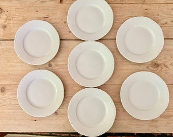 White Porcelain Salad Plates, Set of 7 German Porcelain Dessert Plates, Hutschenreuther Racine Pattern, French Cottage Farmhouse China