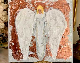 Original Angel Painting 8 x 8 Inches, Gallery Wrapped, Mixed Media, Angel Lover Gift, Christmas Gift