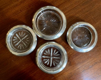 Sterling Glass Coasters, 4 Sterling Silver Barware Coasters, Frank Whiting Coasters, Rogers Sterling Silver Glass Coasters,