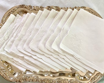 Linen Napkins, Set of 12 Embroidered White Linen Dinner Napkins 15 Inch, French Country Cottage Farmhouse White Table Linens