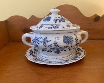 Blue Danube Sauce Tureen with UnderPlate,  Small Covered Tureen Separate Underplate, Blue Danube Blue Onion Pattern,