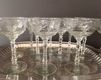 Rock Sharpe Crystal Tall Champagne Coupe, Normandy Pattern 3005, 9 Available, Art Deco Barware, Cut Arch Floral Pattern, Star of David