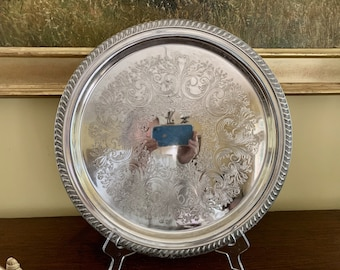Sheridan silver tray, Vintage Silver Plate 13 Inch Round Tray, Silver Barware Serving Tray