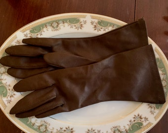 Vintage Brown Gloves,  Women's Dress Gloves Size 7, Woven Nylon Made in Portugal, Winter Fashion Gloves