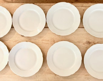 Bavarian White Porcelain Plates, Schiending Porcelain Scalloped 9.5 Inch Plates, 9 Plates Available, Each Sold Separately