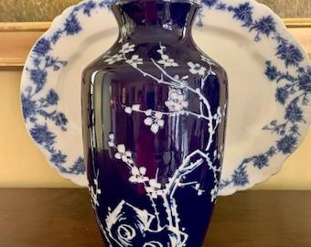 Vintage Asian Vase, Cobalt Blue White Chinoiserie Vase, Japanese Cherry Blossom Intaglio Design, Blue White Decor, Asian Decor