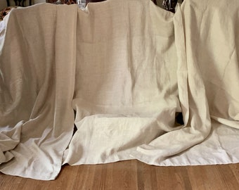 Linen Drapery Panel, Natural Linen Color, Rod Pockets, 48 x 83 Inches, 3 Available Each Sold Separately,  Upholstery Fabric