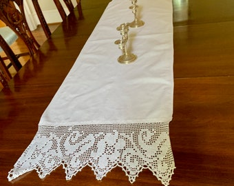 White Table Runner, Linen Table Scarf, 8 Inch Crochet Lace Trim, 63.5 x 17 inches, Scalloped Crochet Lace Trim, Cottage Farmhouse