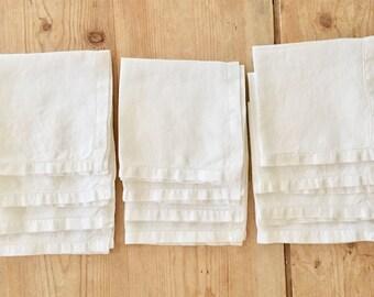 12 Linen Luncheon Napkins, Vintage Antique White 10 Inch Linen Napkins,  Hemstitched  Casual Cottage Farmhouse Table Linens