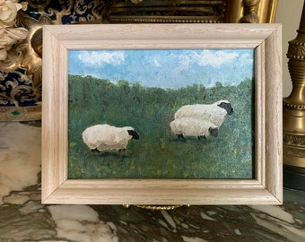 Sheep Grazing Painting, Original Art, 5 x 7 Framed Acrylic on Canvas Sheep Painting, Country Farmhouse, Sheep Lover Gift, Mother's Day Gift