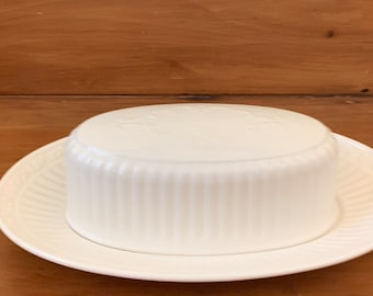 Mikasa Italian Countryside Covered Butter, 1/4. Lb. Cream Colored Stoneware Butter Dish, Ribbed Design with Scrolls, Cottage Farmhouse