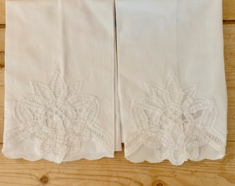 Battenburg Tea Towel, Vintage White Guest Hand Towel, French Country Cottage Linens, 2 Available Each Sold Separately