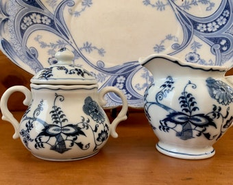 Blue Danube Creamer Covered Sugar, Blue White China Blue Onion Pattern, Early Backstamp, Each Sold Separately