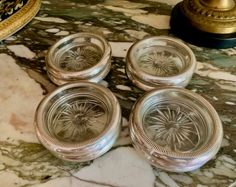 Sterling Silver Glass Coasters, Set of 8 Crown Sterling Coasters, Mid Century Silver Barware Gift Idea, Wedding Bridal Gift,