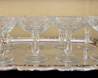 Crystal Etched Champagne Coupes, Set of 8 Vintage Crystal Coupes, Cocktail Coupes, Vintage Barware Coupes, Wedding Bridal Gift