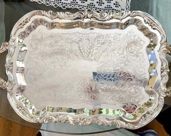 Silver Butlers Tray, Vintage Footed Silver Plate Serving Tray, Large Chased Silver Barware Tray, Wedding Bridal Gift,