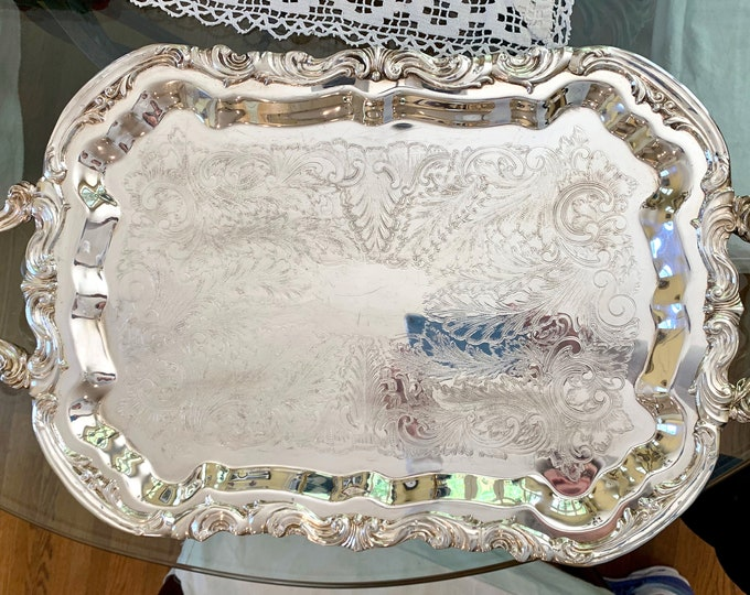 Featured listing image: Silver Butlers Tray, Vintage Footed Silver Plate Serving Tray, Large Chased Silver Barware Tray, Wedding Bridal Gift,