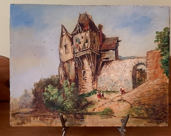 Antique European Painting, Oil on Board Vintage Painting Signed Wallers, Unframed  European Landscape Art Painting, 10 x 13 Inch