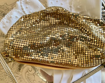 Gold Mesh Metal Purse, Vintage Small Gold Metal Change Purse with Strap, Shoulder Purse, Evening Bag, Prom Purse,