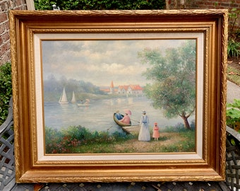 Vintage Oil Painting Boating Water Scene with Family Outing, Signed Ron Stellar, Sailing Landscape, 18 x 24 Inch Image,