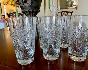 Crystal Ice Tea Tumblers, Set of 6 Tall Cut Glass Highballs 16 Ounce, Wedding Bridal Gift, Crystal Vases, 2 Sets Available Sold Separately