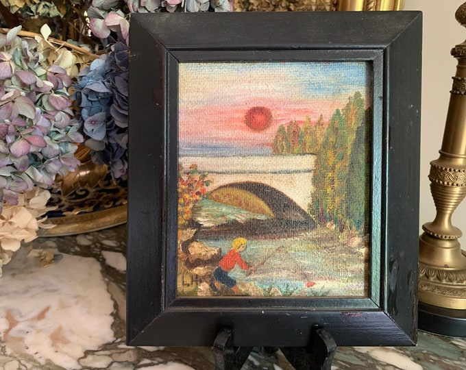 Featured listing image: Vintage Signed Painting, Fishing Scene with Little Boy, Oil on Board, Black Wooden Frame, Sunset Painting, 5.75 x 7 Inch, Cottage Farmhouse