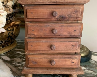 Vintage Child's Toy Chest of Drawers, Primitive Handmade 5 Drawer Toy Chest, Wooden Miniature Storage Chest, Country Farmhouse