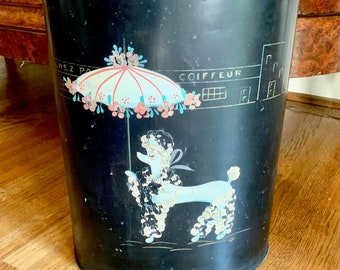 Retro Poodle Waste Basket, Vintage Metal Ransburg Trash Can, Black Mid Century Kitsch Waste Basket Poodle with Umbrella Paris Scene