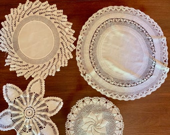 Four Round Doilies, Vintage Handmade Doilies, White Linen with Crochet, White Cotton Crochet, Craft Sewing Supplies