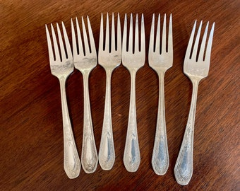 Art Deco Silver Salad Forks, Set of 6 Community Plate Hampton Court Silver Plate Salad Forks, Replacement Silver Plate Flatware