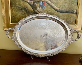 Wallace Baroque Butlers Tray, Silver Plate Oval Butlers Tray with Handle, Large Silver Barware Tray,  Wedding Bridal Gift, Silver Serving