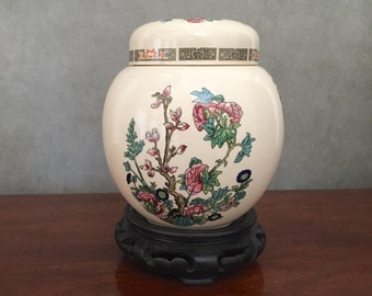 Indian Tree Ginger Jar, Small Staffordshire Apothecary Jar with Stand, Ginger Jar by Sadler, Staffordshire Indian Tree Pattern